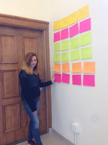 Kristina setting up her Signature film story board
