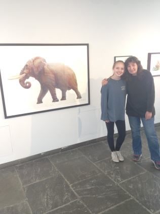 Lily and Patricia, in front of a piece from NYSM